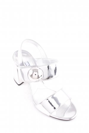 "Prada Strapped High-Heeled Sandals ""Carpetto Lamina Sandal Argento """