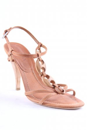 Prada Strapped High-Heeled Sandals light brown extravagant style