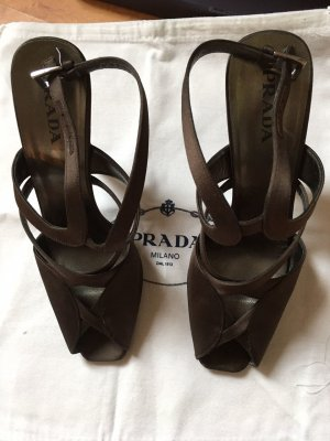 Prada High Heel Sandal dark brown textile fiber