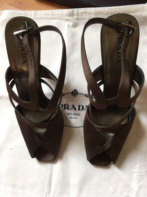 Prada High Heel Sandal dark brown textile fiber