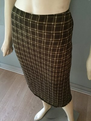 PRADA Rock Braun Beige Kariert 34-36 Seide Bleistiftrock Skirt Silk Brown S Top