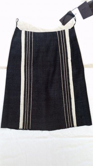 Prada Midi-rok zwart-wolwit Zijde