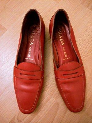 Prada Moccasins raspberry-red leather
