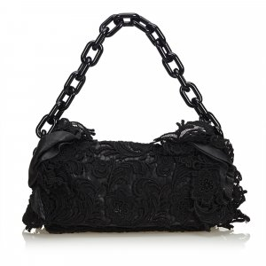 Prada Ruffled Cotton Chain Baguette
