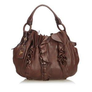 Prada Ruffled Leather Shoulder Bag