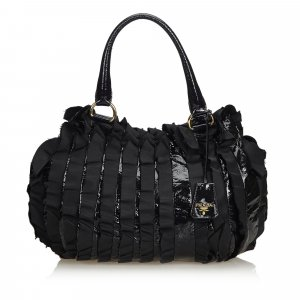 Prada Ruffled Patent Leather Handbag