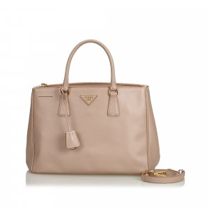Prada Saffiano Lux Double Zip Galleria Satchel