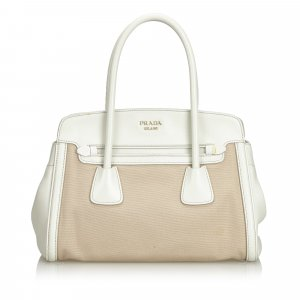 Prada Saffiano Trimmed Canvas Handbag