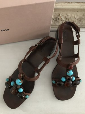 Prada Strapped Sandals dark brown