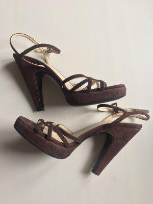 Prada Sandalo con plateau marrone scuro