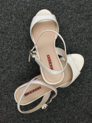 Prada Plateauzool sandalen wit-rood Leer