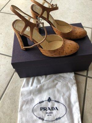 Prada Strapped Sandals cognac-coloured