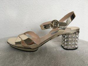 Prada Sandalo con cinturino oro Pelle
