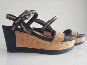 Prada Sandales à talons hauts et plateforme noir-brun sable cuir
