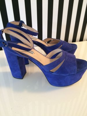 Prada Platform High-Heeled Sandal blue suede