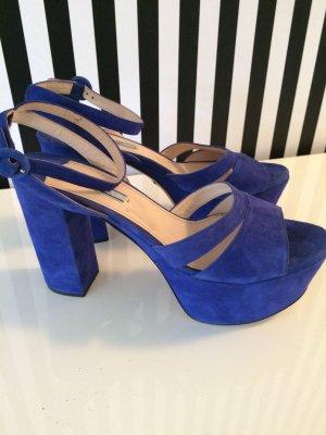 PRADA Sandaletten Gr.41 Kobaltblau NP 449,-€ !! Nur 1x getragen! **RESERVIERT* bis 20.06.2018!