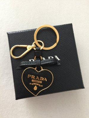 Prada Schlüsselanhänger Herz saffiano schwarz Leder taschenanhänger