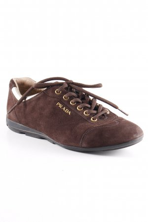 Prada Lace-Up Sneaker brown-gold-colored casual look