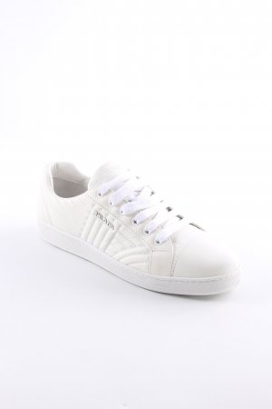 "Prada Lace-Up Sneaker ""Sneakers Matelassé W Logo Leather White"""