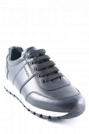 "Prada Sneaker stringata ""Vitello Plume Leather Sneaker Nero + Bianco"" nero"