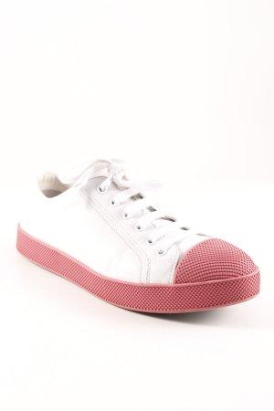 Prada Schnürsneaker weiß-rosa Casual-Look