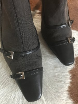 Prada Zipper Booties dark brown