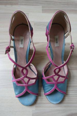 PRADA Schuhe, aus Satin in hellblau und Absatz aus Kork, Gr. 40,5