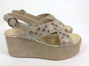 Prada Schuhe beige Velour Ösen Gr. 36,5