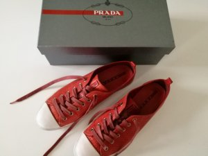 Prada Lace-Up Sneaker white-red