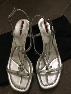 Prada Sandalias de tiras color plata