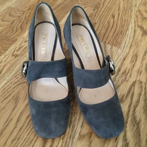 PRADA Schuhe Gr. 37 - grau - Velour Leder - TOP Zustand!
