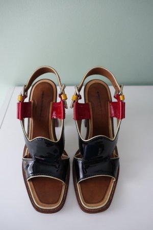 PRADA Schuhe, Gr. 40, Sandalen, schwarzes Lackleder in schwarz, rot & gelb, Blockabsatz !