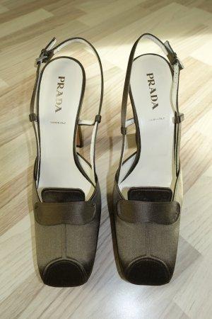 PRADA Schuhe, Gr. 40, Slingback Pumps mit Plateau, aus olivgrünem Satin !