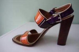 PRADA Schuhe, Gr. 41, Sandalen, Lackleder in orange und violett, Blockabsatz !