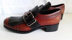 Prada, Schuhe, Leder, rubinrot-schwarz, 39, neu, UPE € 890,-