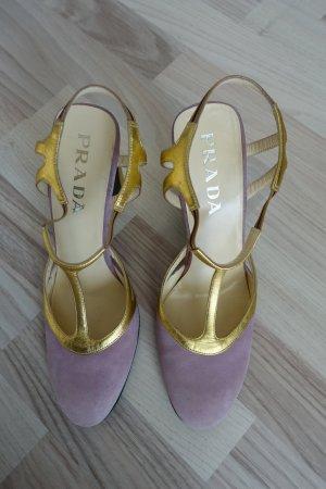 PRADA Schuhe, Pumps mit T-Steg aus Rauhleder in flieder und Bockabsatz in gold, Gr. 39
