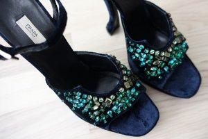 PRADA Schuhe, Sandaletten aus Samt in dunkelblau, über und über mit Swarovski-Kristallen besetzt !! Gr.40