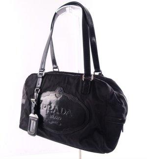 Prada Schulter Tasche Vintage schwarz mit Lederbesatz Schloss