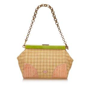 Prada Semitracolla Paglia Croc Frame Shoulder Bag