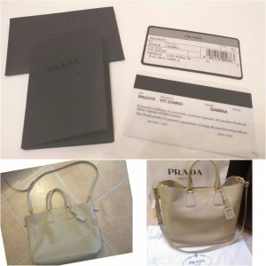Prada Shopper Vitello Daino Sabbia goldene Hardware