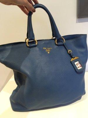 Prada Borsa shopper blu acciaio Pelle
