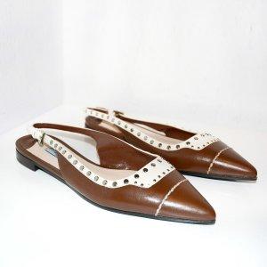 Prada Slingback Ballerinas brown-cream leather