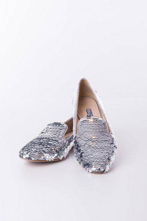 PRADA - Slipper Pailletten Metallic Silber Gr. 39,5