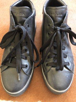 Prada Sneaker alta argento-nero Pelle