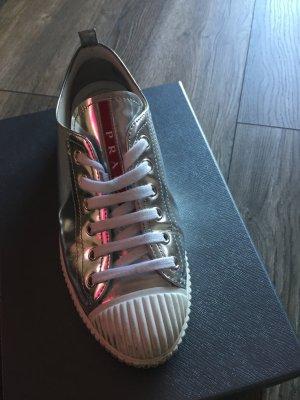 Prada Sneaker stringata argento Pelle