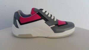Prada, Sneaker, Leder/Baumwolle, grau/fuchsia/weiß, 40, neu