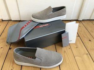 Prada Sneaker Turnschuhe Slip-ons beige nude grau Plateau Flatform Platform Velours Leder Gr. 39