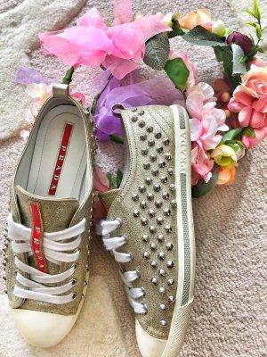 Prada sneakers boots Schuhe Turnschuhe gold glitter Nieten Spikes 36 sneaker