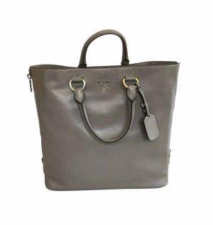 Prada soft calf shopping Pag Leder Tasche mit Schultergurt & Rechnung grau neu