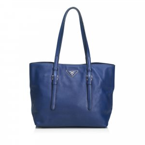 Prada Bolso de compra azul Cuero